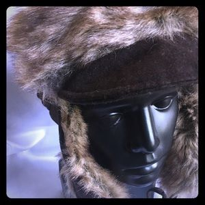 Nine West Women's Wool and Faux Fur Trapper Hat
